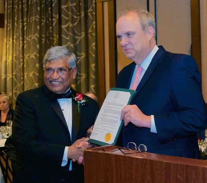 Dr. Mitra and Mayor Joe Petty