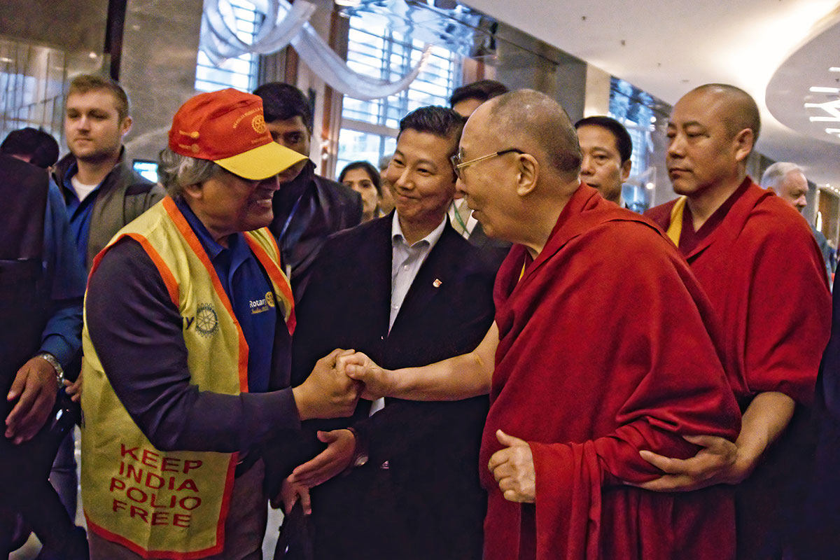 Dr. Mitra meeting His Holiness the 14th Dalai Lama on January 19th. 2020 at JW Marriot, New Delhi, India.