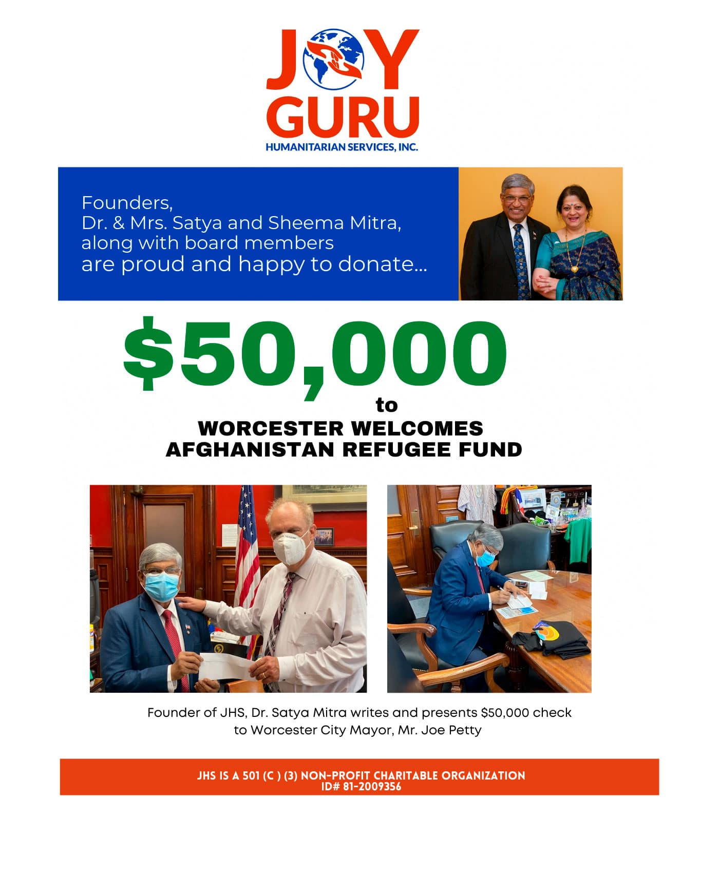 JOYGURU HUMANITARIAN SERVICES donated $50,000.00 to WORCESTER WELCOMES AFGHANISTAN REFUGEES FUND